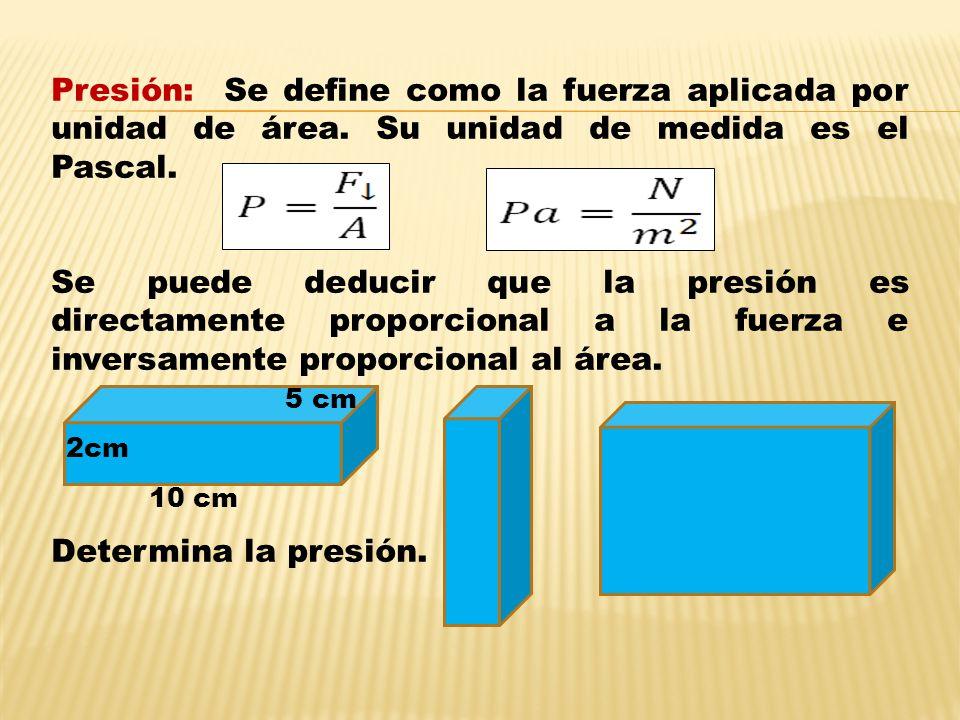 Presión: Se define como la fuerza aplicada por unidad de área.
