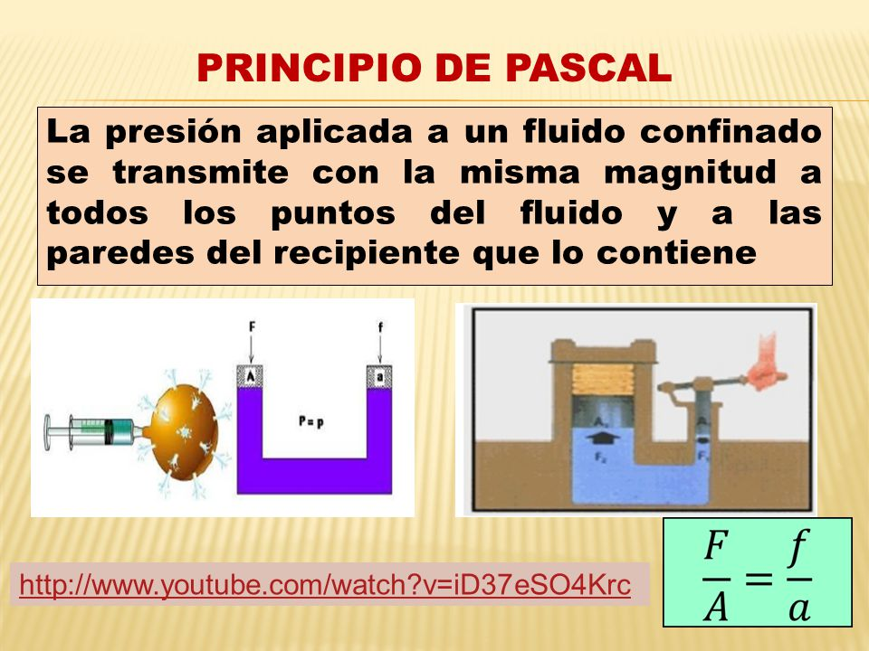 PRINCIPIO DE PASCAL La presión aplicada a un fluido confinado se transmite con la misma magnitud a todos los puntos del fluido y a las paredes del recipiente que lo contiene http://www.youtube.com/watch?v=iD37eSO4Krc