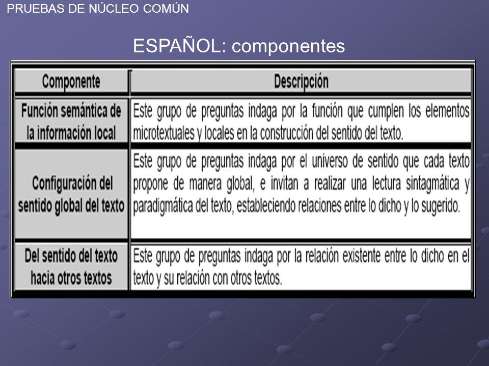 PRUEBAS DE NÚCLEO COMÚN ESPAÑOL: componentes