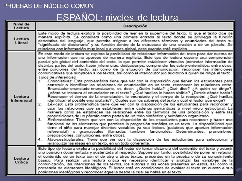 PRUEBAS DE NÚCLEO COMÚN ESPAÑOL: niveles de lectura