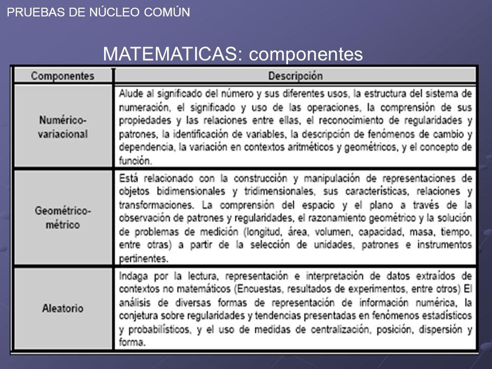 PRUEBAS DE NÚCLEO COMÚN MATEMATICAS: componentes