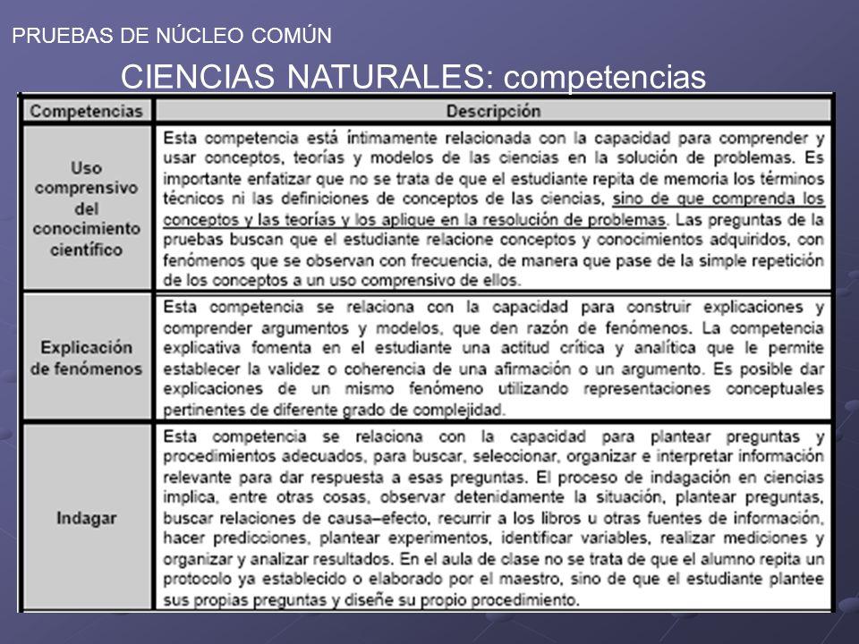 PRUEBAS DE NÚCLEO COMÚN CIENCIAS NATURALES: competencias