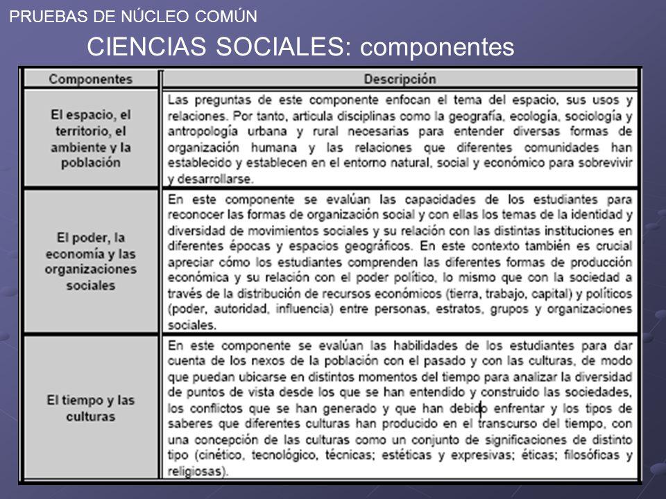 PRUEBAS DE NÚCLEO COMÚN CIENCIAS SOCIALES: componentes