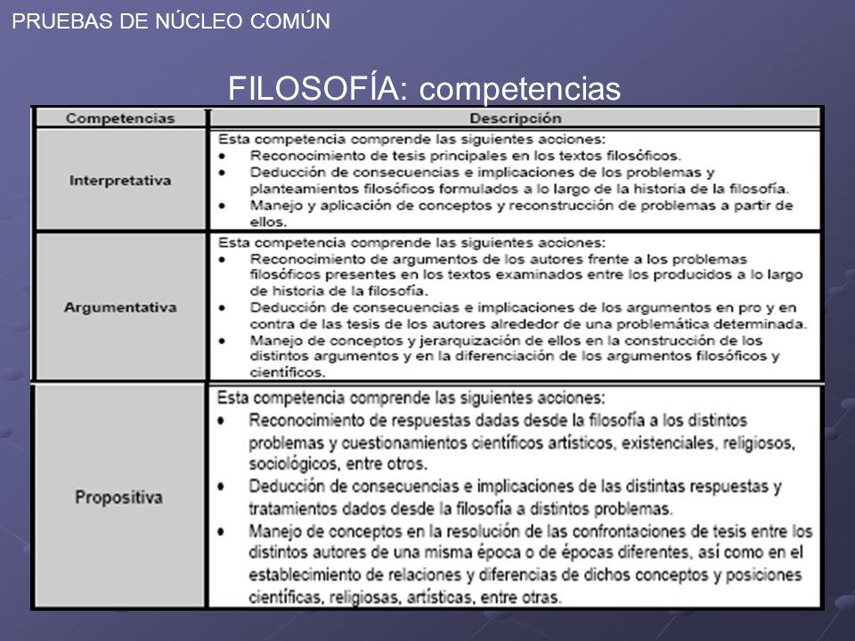 PRUEBAS DE NÚCLEO COMÚN FILOSOFÍA: competencias