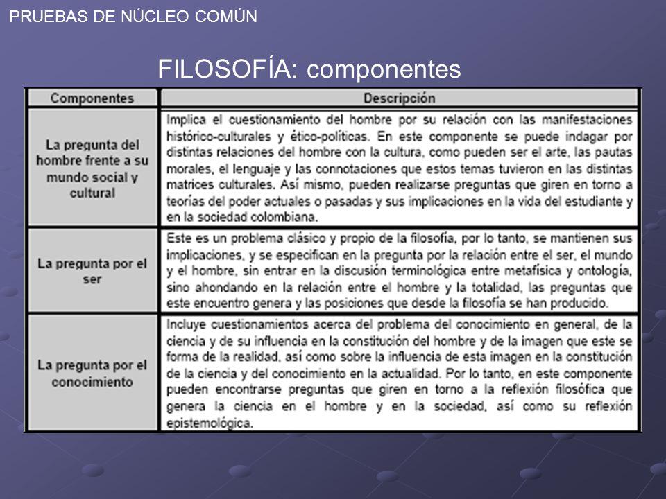 PRUEBAS DE NÚCLEO COMÚN FILOSOFÍA: componentes