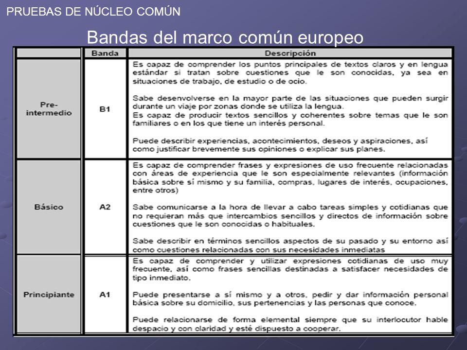 PRUEBAS DE NÚCLEO COMÚN Bandas del marco común europeo