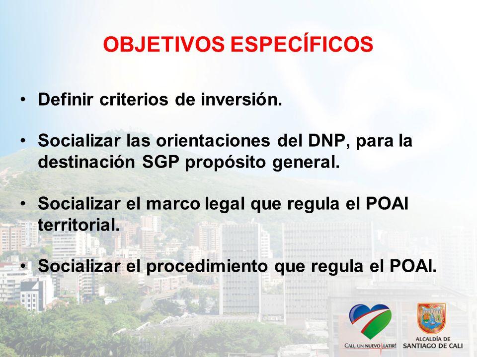 OBJETIVOS ESPECÍFICOS Definir criterios de inversión.