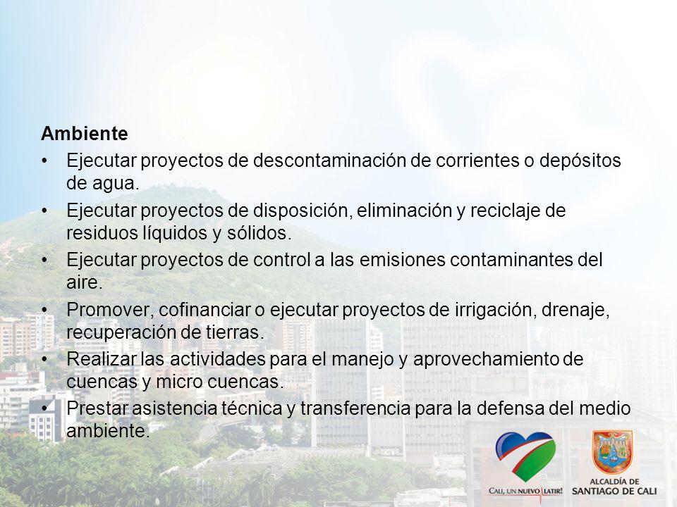 Ambiente Ejecutar proyectos de descontaminación de corrientes o depósitos de agua.