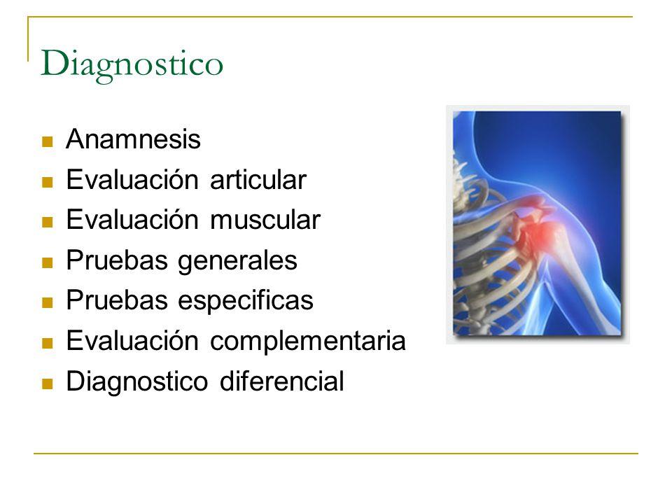 Diagnostico Anamnesis Evaluación articular Evaluación muscular Pruebas generales Pruebas especificas Evaluación complementaria Diagnostico diferencial