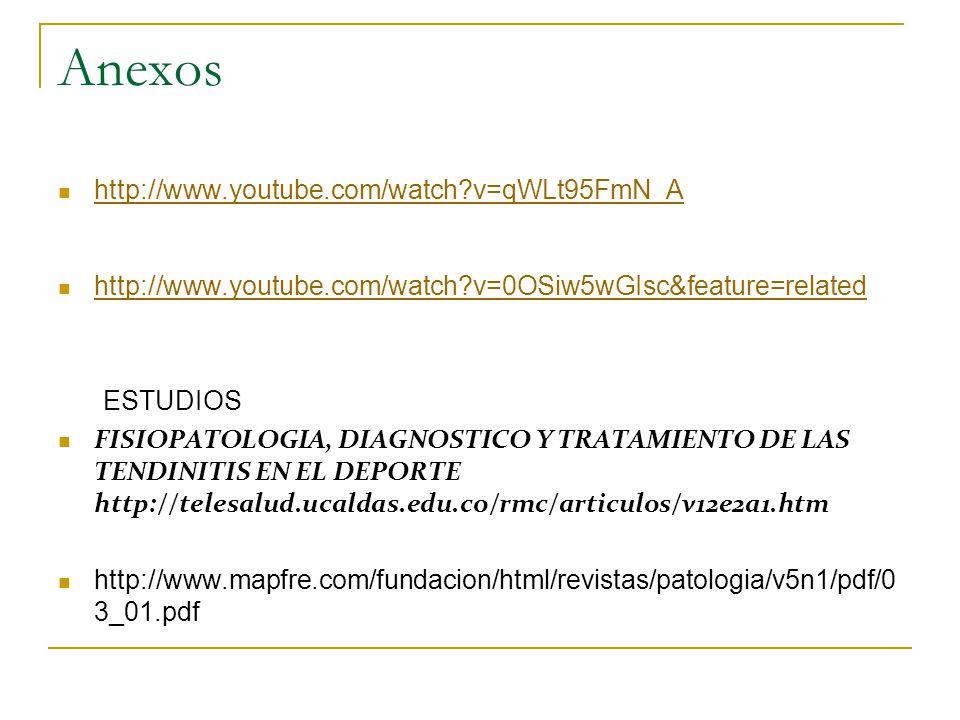 Anexos http://www.youtube.com/watch?v=qWLt95FmN_A http://www.youtube.com/watch?v=0OSiw5wGIsc&feature=related ESTUDIOS FISIOPATOLOGIA, DIAGNOSTICO Y TRATAMIENTO DE LAS TENDINITIS EN EL DEPORTE http://telesalud.ucaldas.edu.co/rmc/articulos/v12e2a1.htm http://www.mapfre.com/fundacion/html/revistas/patologia/v5n1/pdf/0 3_01.pdf