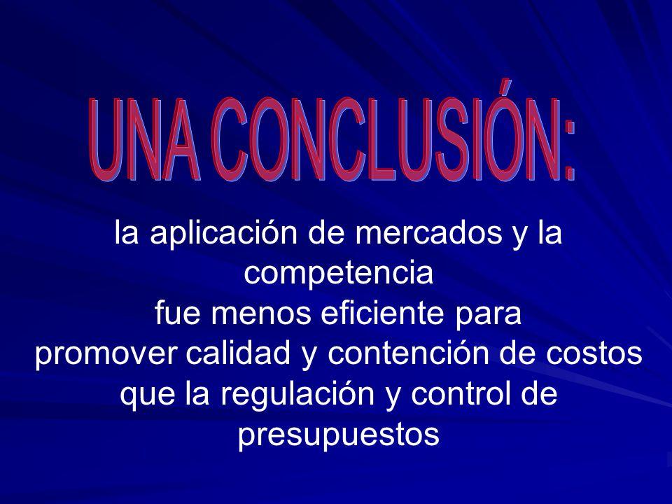 la aplicación de mercados y la competencia fue menos eficiente para promover calidad y contención de costos que la regulación y control de presupuestos