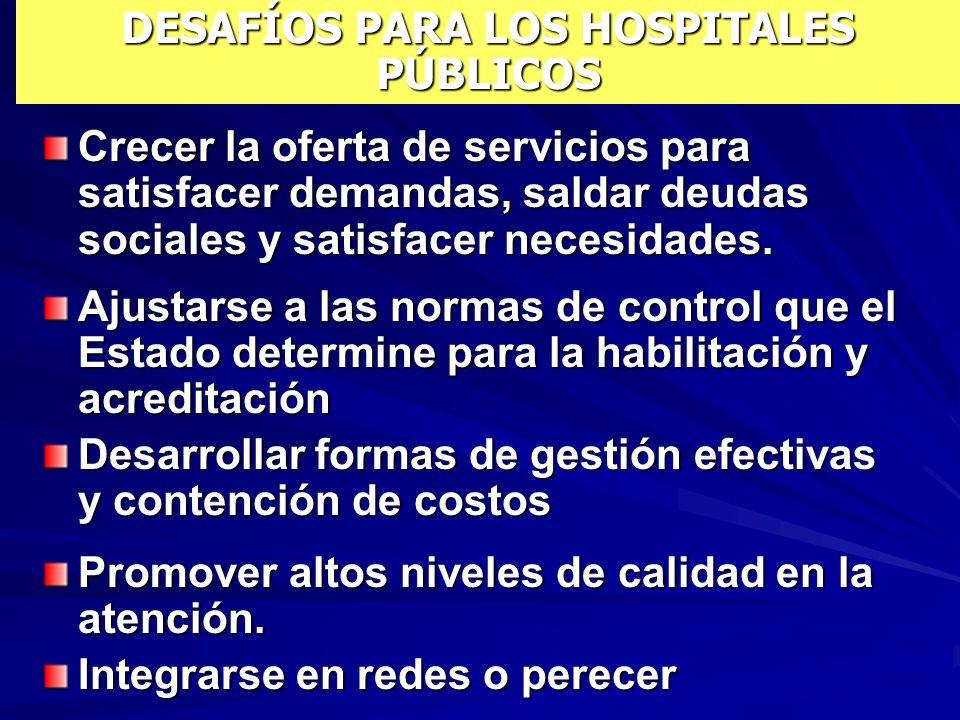DESAFÍOS PARA LOS HOSPITALES PÚBLICOS Crecer la oferta de servicios para satisfacer demandas, saldar deudas sociales y satisfacer necesidades.
