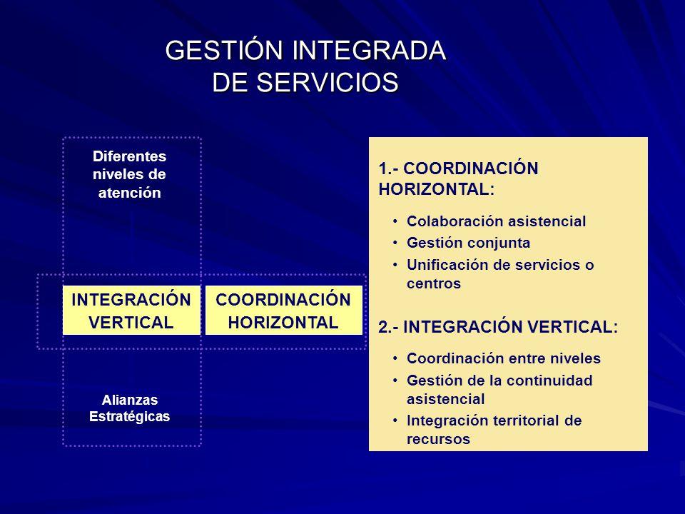 1.- COORDINACIÓN HORIZONTAL: Colaboración asistencial Gestión conjunta Unificación de servicios o centros 2.- INTEGRACIÓN VERTICAL: Coordinación entre niveles Gestión de la continuidad asistencial Integración territorial de recursos Diferentes niveles de atención INTEGRACIÓN VERTICAL COORDINACIÓN HORIZONTAL Alianzas Estratégicas GESTIÓN INTEGRADA DE SERVICIOS