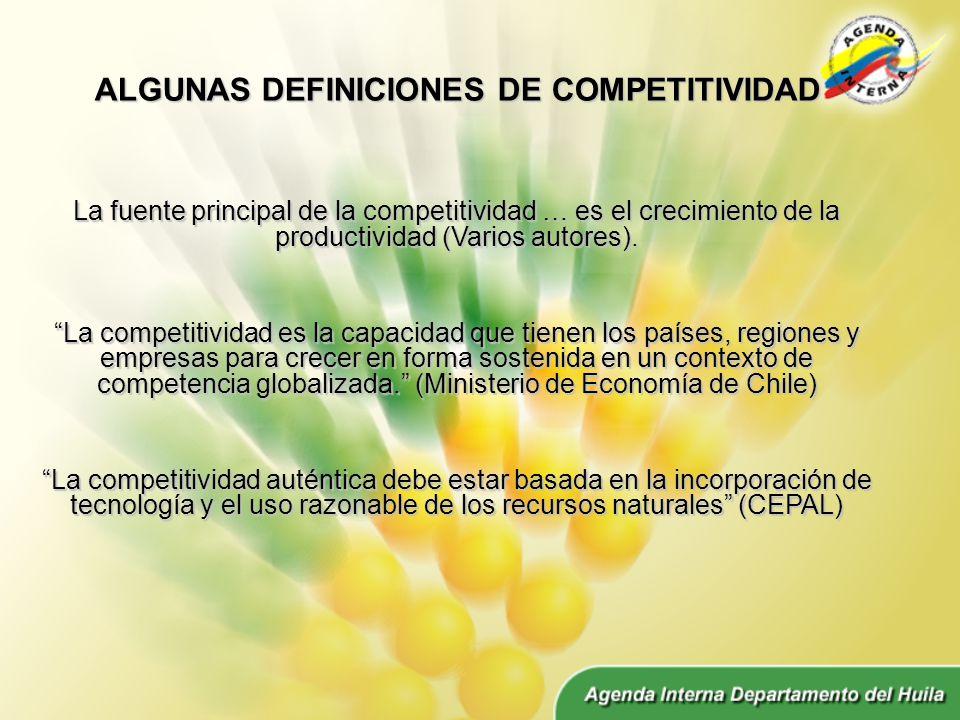 ALGUNAS DEFINICIONES DE COMPETITIVIDAD La fuente principal de la competitividad … es el crecimiento de la productividad (Varios autores).