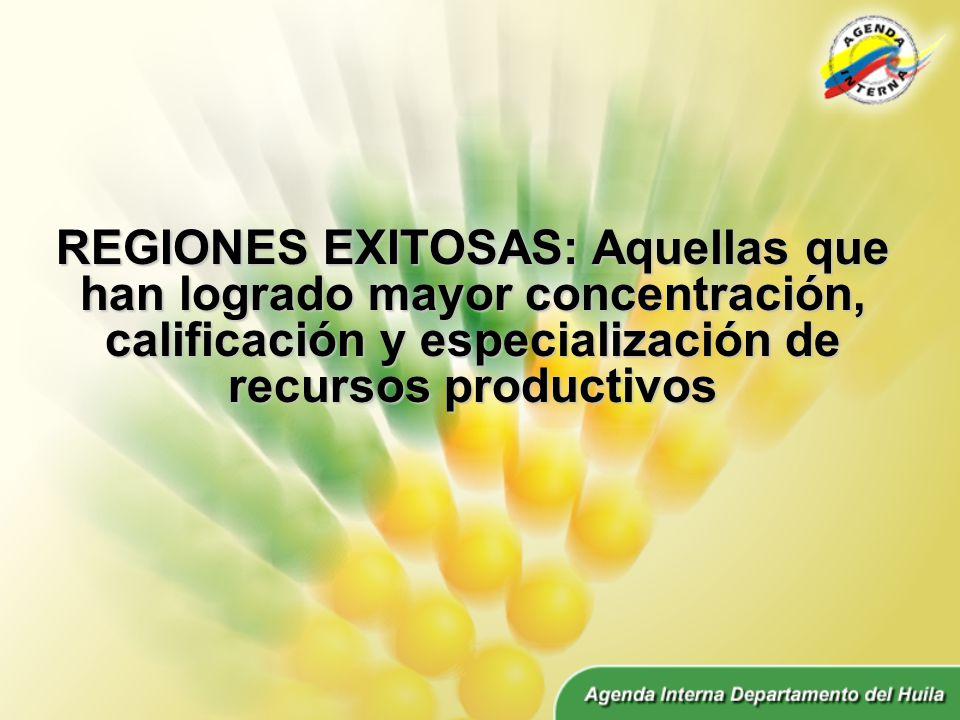 REGIONES EXITOSAS: Aquellas que han logrado mayor concentración, calificación y especialización de recursos productivos