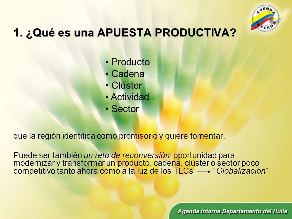 1. ¿Qué es una APUESTA PRODUCTIVA. que la región identifica como promisorio y quiere fomentar.