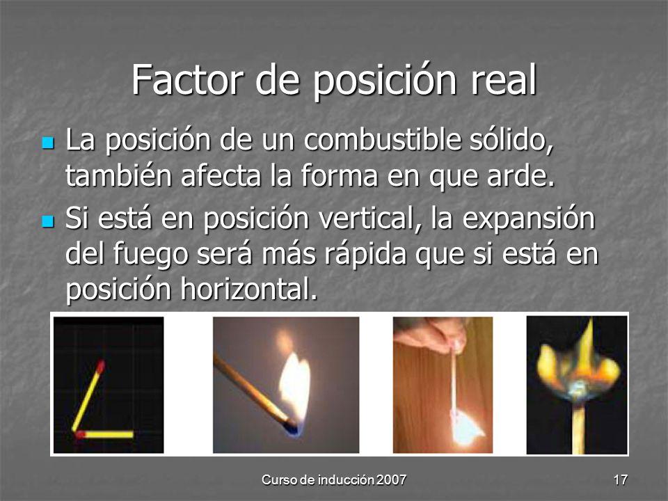 Curso de inducción 200717 Factor de posición real La posición de un combustible sólido, también afecta la forma en que arde. La posición de un combust