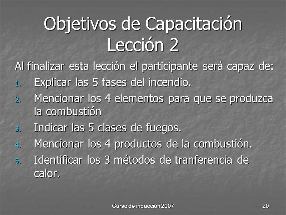 Curso de inducción 200720 Objetivos de Capacitación Lección 2 Al finalizar esta lección el participante será capaz de: 1. Explicar las 5 fases del inc