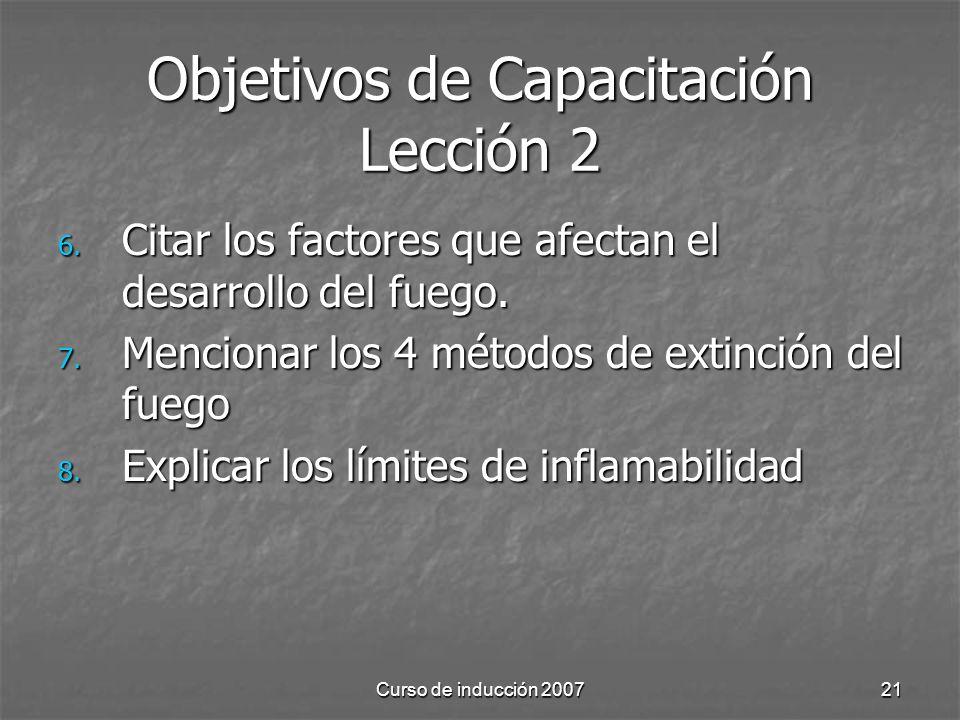Curso de inducción 200721 Objetivos de Capacitación Lección 2 6. Citar los factores que afectan el desarrollo del fuego. 7. Mencionar los 4 métodos de