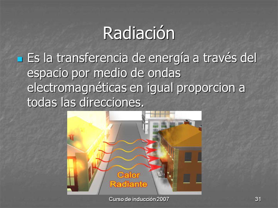 Curso de inducción 200731 Radiación Es la transferencia de energía a través del espacio por medio de ondas electromagnéticas en igual proporcion a tod