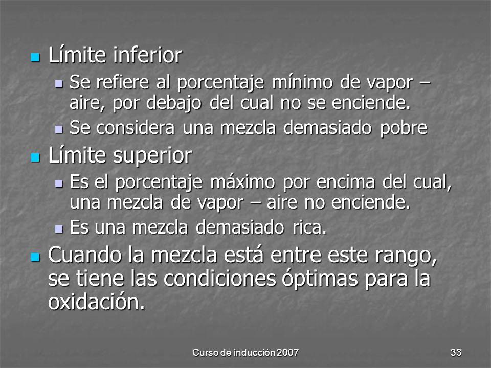 Curso de inducción 200733 Límite inferior Límite inferior Se refiere al porcentaje mínimo de vapor – aire, por debajo del cual no se enciende. Se refi