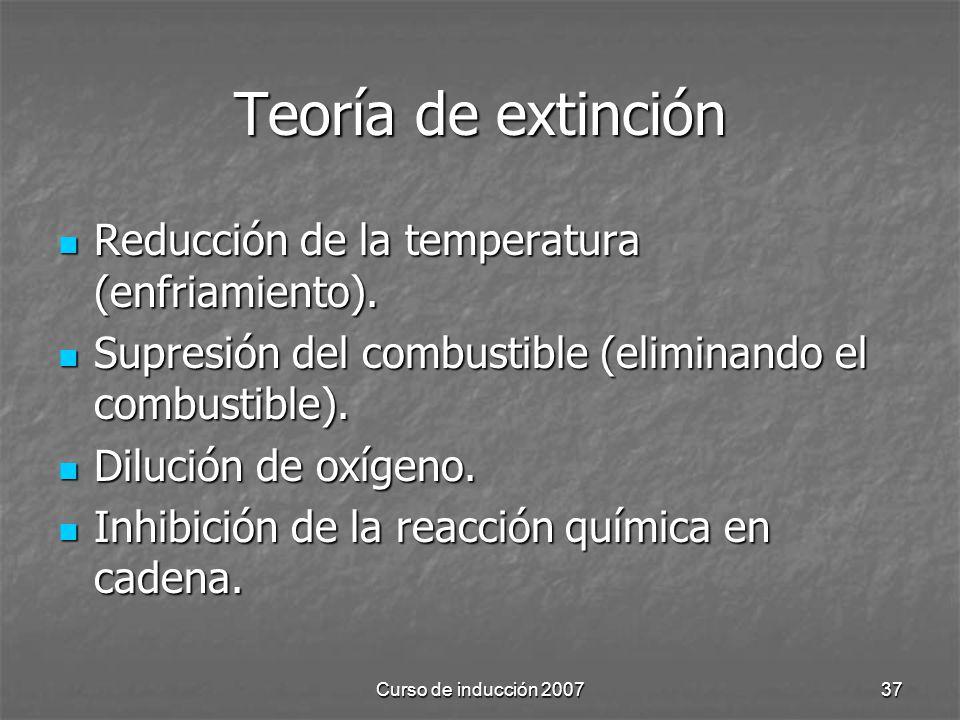 Curso de inducción 200737 Teoría de extinción Reducción de la temperatura (enfriamiento). Reducción de la temperatura (enfriamiento). Supresión del co