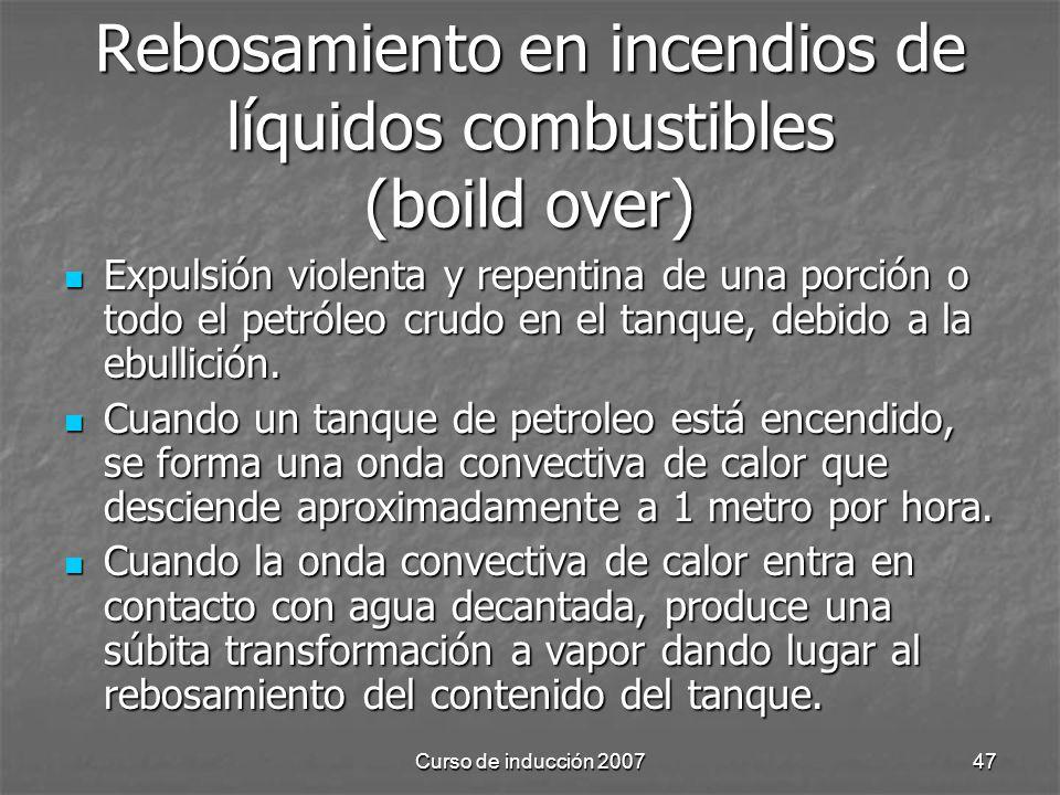 Curso de inducción 200747 Rebosamiento en incendios de líquidos combustibles (boild over) Expulsión violenta y repentina de una porción o todo el petr
