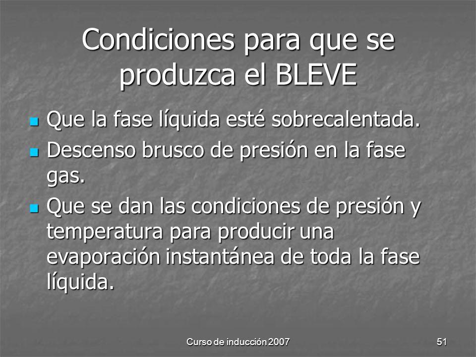 Curso de inducción 200751 Condiciones para que se produzca el BLEVE Que la fase líquida esté sobrecalentada. Que la fase líquida esté sobrecalentada.