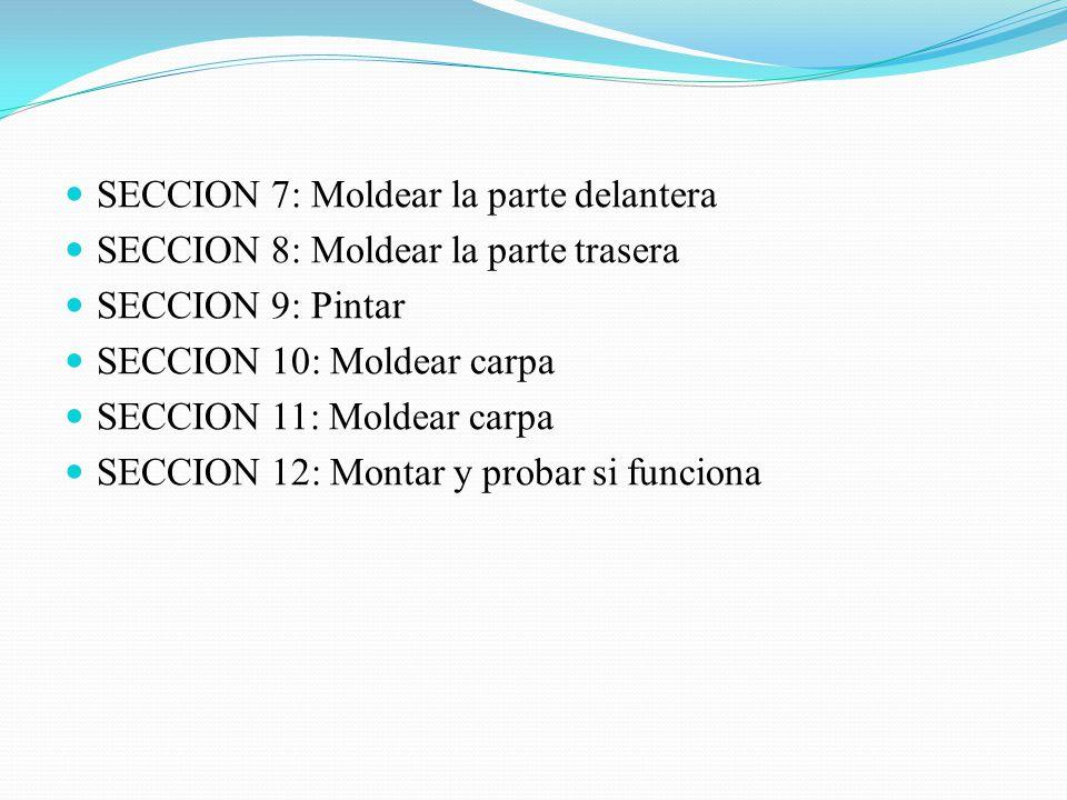 SECCION 7: Moldear la parte delantera SECCION 8: Moldear la parte trasera SECCION 9: Pintar SECCION 10: Moldear carpa SECCION 11: Moldear carpa SECCION 12: Montar y probar si funciona