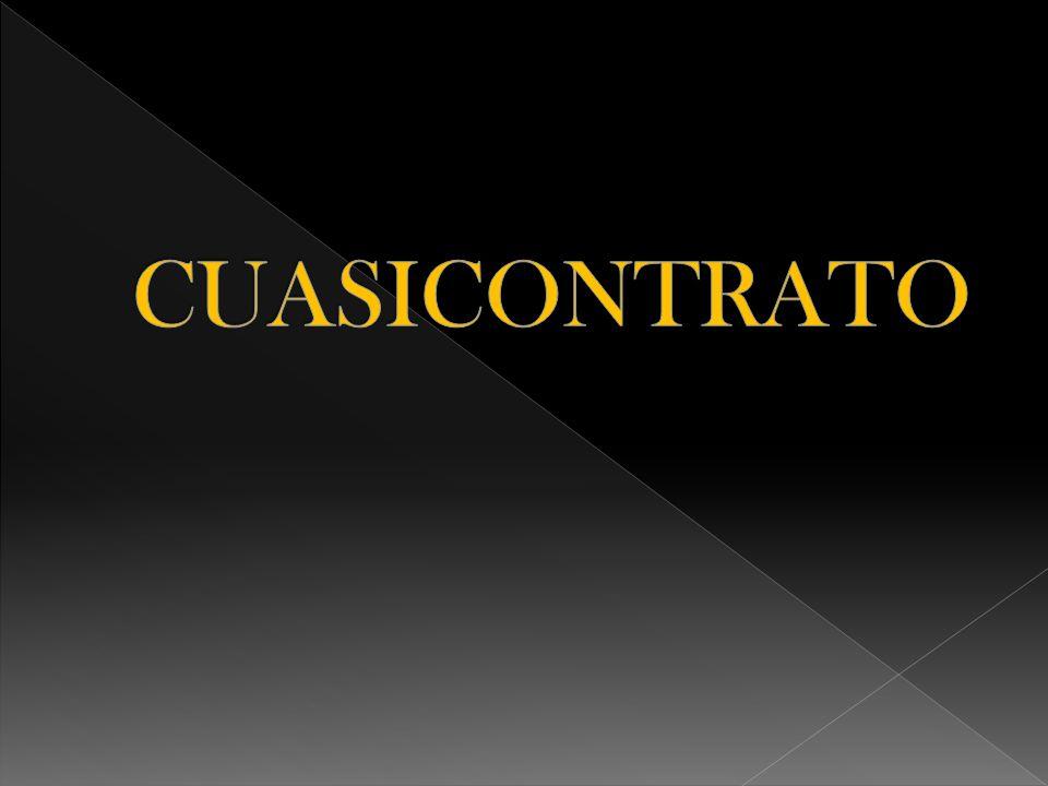 La palabra cuasicontrato en los institutos de Justiniano (titulo XXVII) designa a aquellas obligaciones que no nacen propiamente de un contrato.