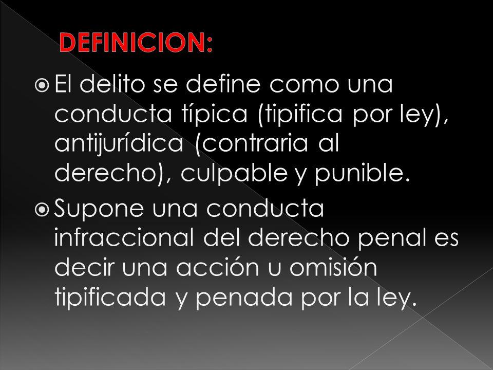 El delito se define como una conducta típica (tipifica por ley), antijurídica (contraria al derecho), culpable y punible. Supone una conducta infracci