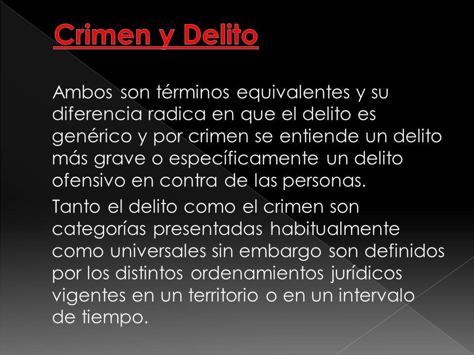 Ambos son términos equivalentes y su diferencia radica en que el delito es genérico y por crimen se entiende un delito más grave o específicamente un