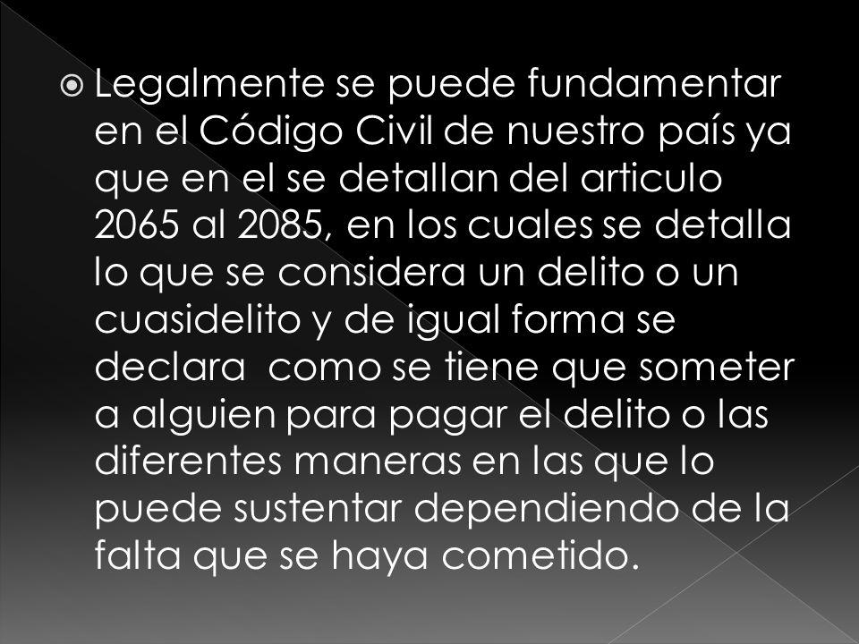 Legalmente se puede fundamentar en el Código Civil de nuestro país ya que en el se detallan del articulo 2065 al 2085, en los cuales se detalla lo que
