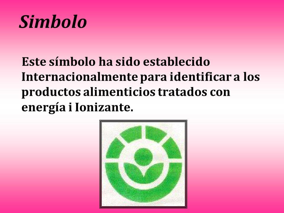 Simbolo Este símbolo ha sido establecido Internacionalmente para identificar a los productos alimenticios tratados con energía i Ionizante.
