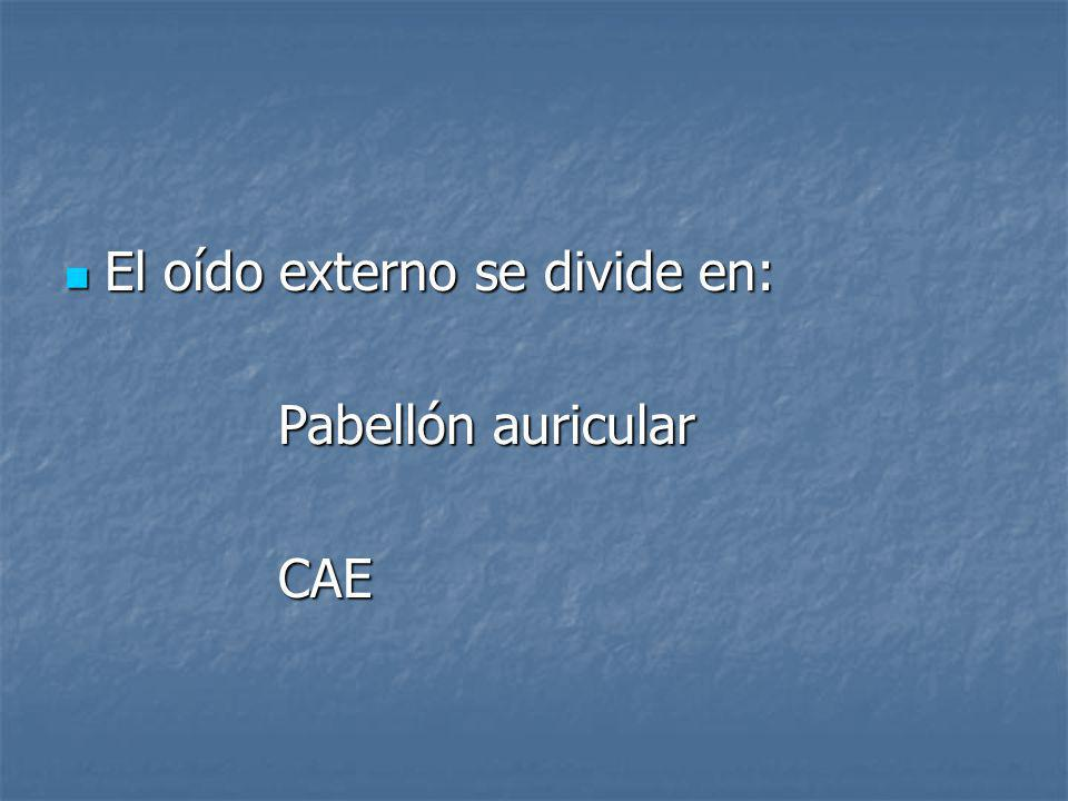 El oído externo se divide en: El oído externo se divide en: Pabellón auricular CAE