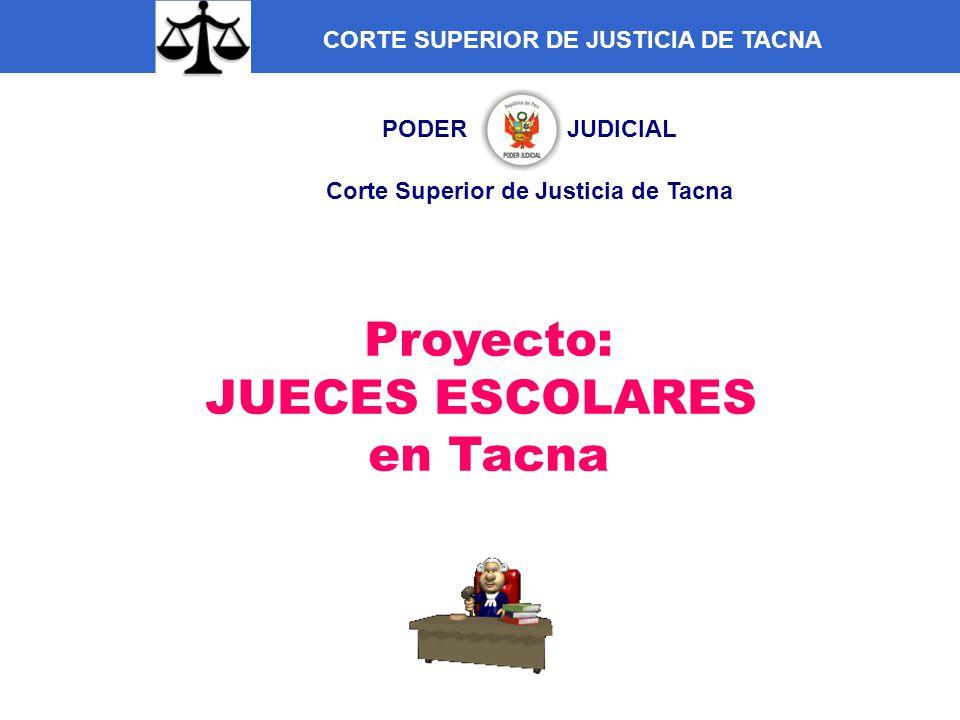 PODER JUDICIAL Corte Superior de Justicia de Tacna Proyecto: JUECES ESCOLARES en Tacna CORTE SUPERIOR DE JUSTICIA DE TACNA
