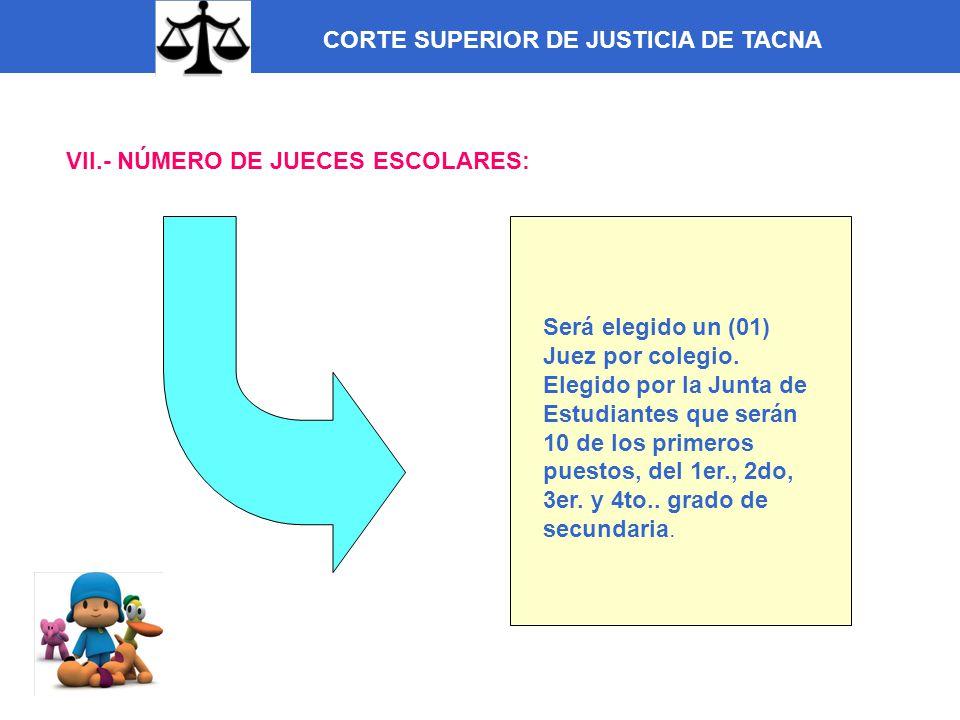 CORTE SUPERIOR DE JUSTICIA DE TACNA VII.- NÚMERO DE JUECES ESCOLARES: Será elegido un (01) Juez por colegio. Elegido por la Junta de Estudiantes que s