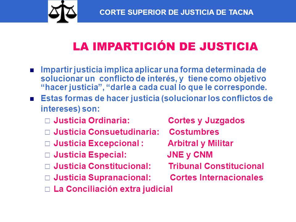 CORTE SUPERIOR DE JUSTICIA DE TACNA LA IMPARTICIÓN DE JUSTICIA Impartir justicia implica aplicar una forma determinada de solucionar un conflicto de i