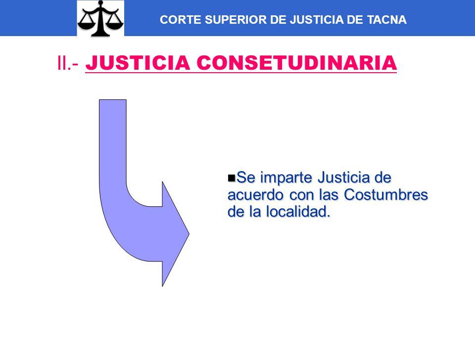 CORTE SUPERIOR DE JUSTICIA DE TACNA II.- JUSTICIA CONSETUDINARIA Se imparte Justicia de acuerdo con las Costumbres de la localidad. Se imparte Justici