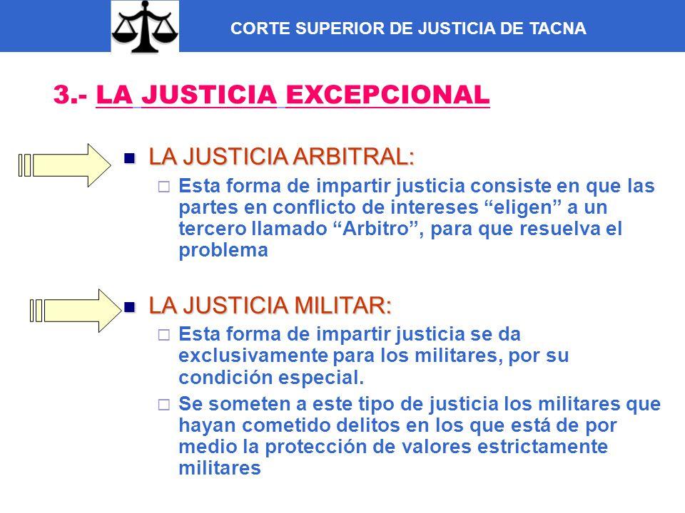 CORTE SUPERIOR DE JUSTICIA DE TACNA 3.- LA JUSTICIA EXCEPCIONAL LA JUSTICIA ARBITRAL: LA JUSTICIA ARBITRAL: Esta forma de impartir justicia consiste e