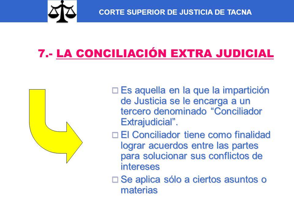 CORTE SUPERIOR DE JUSTICIA DE TACNA 7.- LA CONCILIACIÓN EXTRA JUDICIAL Es aquella en la que la impartición de Justicia se le encarga a un tercero deno