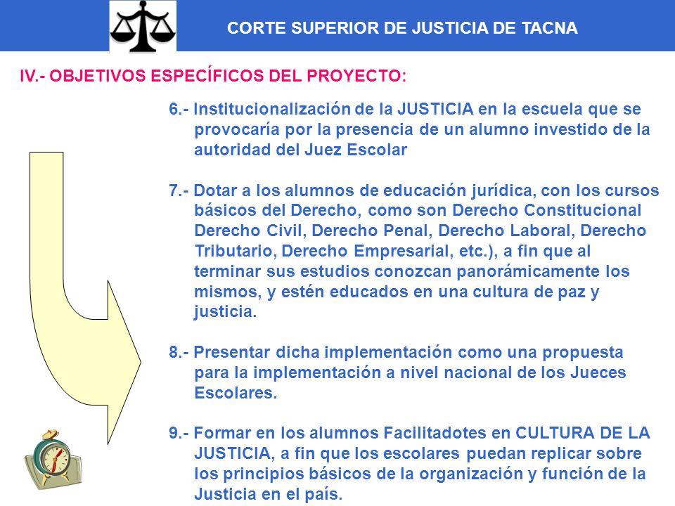 CORTE SUPERIOR DE JUSTICIA DE TACNA IV.- OBJETIVOS ESPECÍFICOS DEL PROYECTO: 6.- Institucionalización de la JUSTICIA en la escuela que se provocaría p