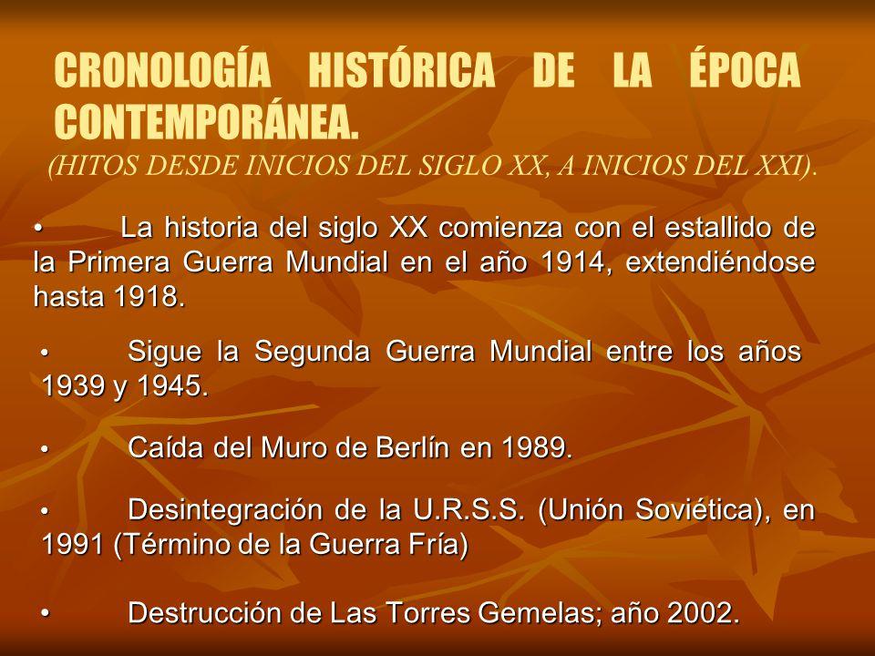 CRONOLOGÍA HISTÓRICA DE LA ÉPOCA CONTEMPORÁNEA. (HITOS DESDE INICIOS DEL SIGLO XX, A INICIOS DEL XXI). La historia del siglo XX comienza con el estall