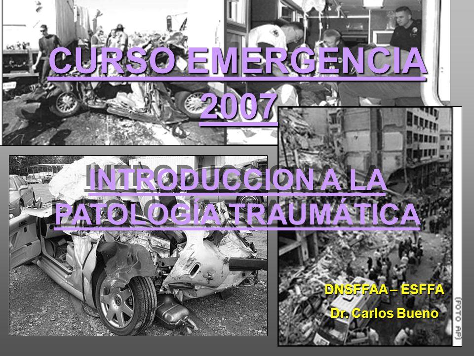 DNSFFAA – ESFFA Dr. Carlos Bueno CURSO EMERGENCIA 2007 INTRODUCCION A LA PATOLOGÍA TRAUMÁTICA
