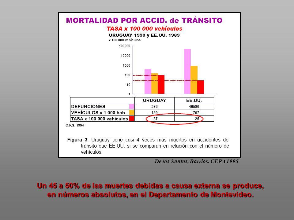 De los Santos, Barrios. CEPA 1995 Un 45 a 50% de las muertes debidas a causa externa se produce, en números absolutos, en el Departamento de Montevide