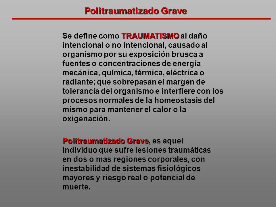 Politraumatizado Grave TRAUMATISMO Se define como TRAUMATISMO al daño intencional o no intencional, causado al organismo por su exposición brusca a fu