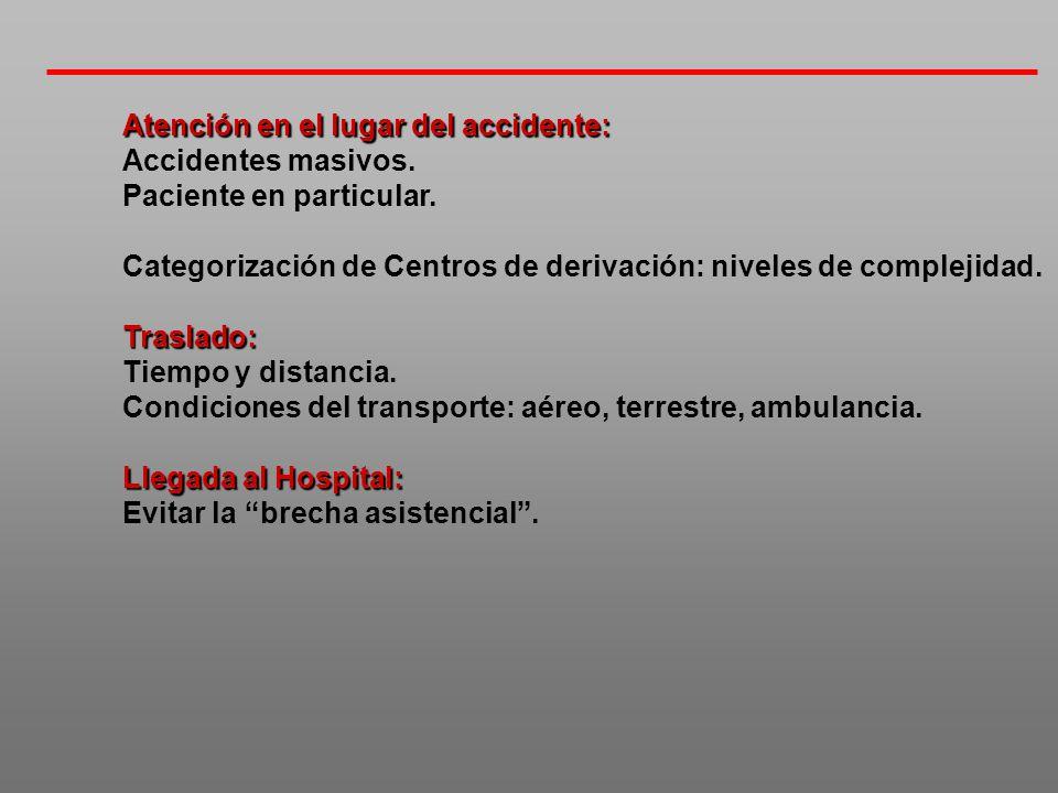 Atención en el lugar del accidente: Accidentes masivos. Paciente en particular. Categorización de Centros de derivación: niveles de complejidad.Trasla