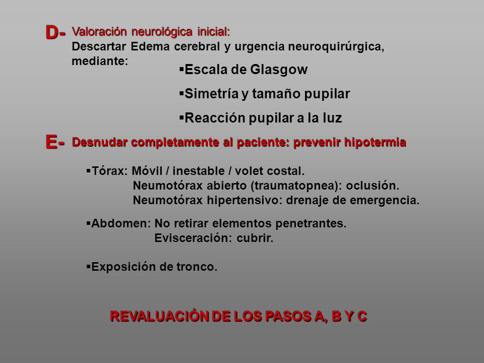 Tórax: Móvil / inestable / volet costal. Neumotórax abierto (traumatopnea): oclusión. Neumotórax hipertensivo: drenaje de emergencia. Abdomen: No reti