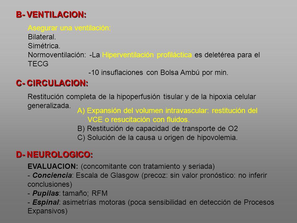 B- VENTILACION: Asegurar una ventilación: Bilateral. Simétrica. Normoventilación: -La Hiperventilación profiláctica es deletérea para el TECG -10 insu
