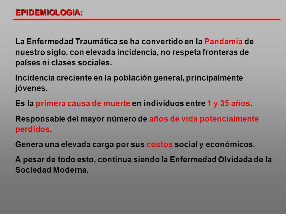 La Enfermedad Traumática se ha convertido en la Pandemia de nuestro siglo, con elevada incidencia, no respeta fronteras de países ni clases sociales.